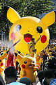 """August 7, 2016, Yokohama, Japan - 50 Pikachu characters, Nintendo's videogame software Pokemon's wellknown character, parade at a street in Yokohama, suburban Tokyo on Sunday, August 7, 2016. The Pikachu mascots walk around the shoppjng mall daily to attract summer vacationers as a part of the """"Great Pikachu Outbreak"""" event through August 14.    (Photo by Yoshio Tsunoda/AFLO) LWX -ytd-"""