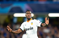 Valencia Geoffrey Kondogbia during the UEFA Champions League match between Chelsea and Valencia  at Stamford Bridge, London, England on 17 September 2019. Photo by Andrew Aleksiejczuk / PRiME Media Images.
