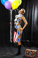 Circus bodypainting and photoshooting with model Randy as a clown / leopard in the Studio Düsterwald. Hamelin-Holtensen on February 7, 2015 - Body Paint Artist: Jörg Düsterwald
