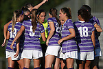 11 September 2016: High Point's starters huddle before the game. The Duke University Blue Devils hosted the High Point University Panthers at Koskinen Stadium in Durham, North Carolina in a 2016 NCAA Division I Women's Soccer match. Duke won the match 4-1.