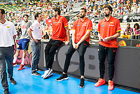 Spain's basketball player Sergio Llull, Marc Gasol and Pau Gasol during the first match of the preparation for the Rio Olympic Game at Coliseum Burgos. July 12, 2016. (ALTERPHOTOS/BorjaB.Hojas)