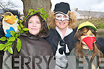 Trees and birds: Kilocrim pupils Geraldine Joy and Clare Beasley with the .Theresa Beasley, the magpie, who all took part in Listowel St Patrick's Day .parade on Sunday.   Copyright Kerry's Eye 2008