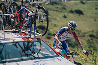 Arthur Vichot (FRA/Groupama-FDJ) with a quite  'sticky bidon' up the Comet de Roselend<br /> <br /> Stage 11: Albertville > La Rosière / Espace San Bernardo (108km)<br /> <br /> 105th Tour de France 2018<br /> ©kramon