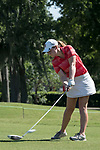 HOUSTON, TX - MAY 12: Nikki Isaacson of Rhodes College tees off during the Division III Women's Golf Championship held at Bay Oaks Country Club on May 12, 2017 in Houston, Texas. (Photo by Rudy Gonzalez/NCAA Photos/NCAA Photos via Getty Images)