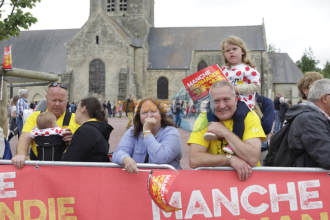 Bournemouth fans at the team presentations before the start of the 2016 Tour de France, Sainte-Mere-Eglise, France . 30th June 2016.<br /> Picture: Eoin Clarke | Newsfile<br /> <br /> <br /> All photos usage must carry mandatory copyright credit (&copy; Newsfile | Eoin Clarke)