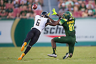 Tampa, FL - September 4th, 2016:Towson Tigers defensive back Troy Jeter (6) breaks up a pass to South Florida Bulls wide receiver Ryeshene Bronson (81) during their game at Raymond James Stadium in Tampa, FL. (Photo by Phil Peters/Media Images International)