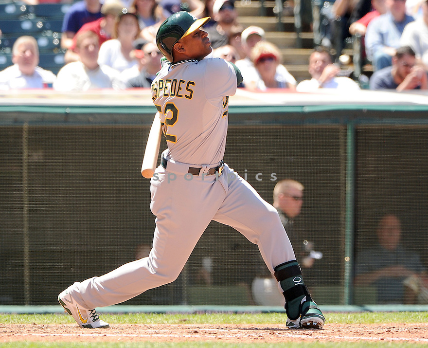 Oakland A's Yoenis Cespedes (52) during a game against the Cleveland Indians on May 9, 2013 at Progressive Field in Cleveland, OH. The Indians beat the A's 9-2.