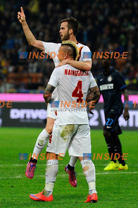 Esultanza gol di Radja Nainggloan Roma 1-1. Celebration goal<br /> Milano 25-04-2015 Stadio Giuseppe Meazza - Football Calcio Serie A Inter - Roma. Foto Giuseppe Celeste / Insidefoto