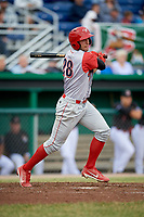 Williamsport Crosscutters right fielder Matt Vierling (28) follows through on a swing during a game against the Batavia Muckdogs on June 22, 2018 at Dwyer Stadium in Batavia, New York.  Williamsport defeated Batavia 9-7.  (Mike Janes/Four Seam Images)