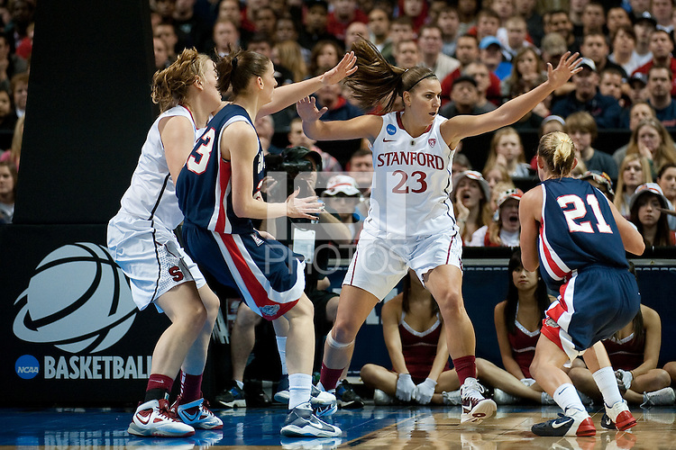 SPOKANE, WA - MARCH 28, 2011: Jeanette Pohlen, Stanford Women's Basketball vs Gonzaga, NCAA West Regional Finals at the Spokane Arena on March 28, 2011.