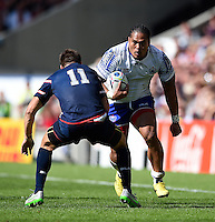 Alesana Tuilagi of Samoa looks to take on Chris Wyles of the USA. Rugby World Cup Pool B match between Samoa and the USA on September 20, 2015 at the Brighton Community Stadium in Brighton, England. Photo by: Patrick Khachfe / Onside Images