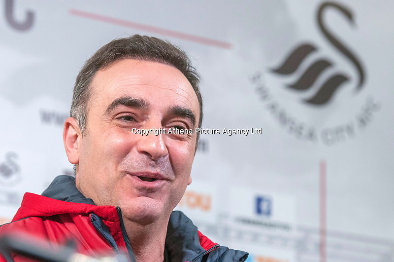 Swansea City manager Carlos Carvalhal takes a press conference at the clubs training facility in the Fairwood district of Swansea this afternoon, ahead of their game with Liverpool on Monday.