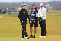 Robin Dawson (IRL) and Alvero Quiros (ESP) on the 16th green during round 4 of the Alfred Dunhill Links Championship at Old Course St. Andrew's, Fife, Scotland. 07/10/2018.<br /> Picture Thos Caffrey / Golffile.ie<br /> <br /> All photo usage must carry mandatory copyright credit (&copy; Golffile | Thos Caffrey)