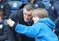 Blackburn Rovers Manager Tony Mowbray with a young fan<br /> <br /> Photographer Rachel Holborn/CameraSport<br /> <br /> The EFL Sky Bet Championship - Blackburn Rovers v Preston North End - Saturday 18th March 2017 - Ewood Park - Blackburn<br /> <br /> World Copyright &copy; 2017 CameraSport. All rights reserved. 43 Linden Ave. Countesthorpe. Leicester. England. LE8 5PG - Tel: +44 (0) 116 277 4147 - admin@camerasport.com - www.camerasport.com