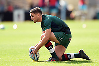 Joe Ford of Leicester Tigers practises his kicking during the pre-match warm-up. Gallagher Premiership match, between Leicester Tigers and Worcester Warriors on September 21, 2018 at Welford Road in Leicester, England. Photo by: Patrick Khachfe / JMP