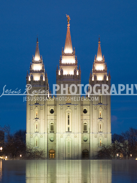 Salt Lake City Temple<br /> <br /> In this shot it is included one of the two reflection ponds of the temple. A common element also found in various buildings in Utah. For the Church of Jesus Christ of Latter-day Saints (LDS church) known as mormons, the temples are different from their regular meetinghouses. Members of the Church attend temples to perform religious ceremonies such as baptisms for the dead, and eternal marriages.
