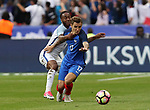 France's Lucas Digne tussles with England's Raheem Sterling during the Friendly match at Stade De France Stadium, Paris Picture date 13th June 2017. Picture credit should read: David Klein/Sportimage