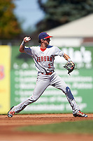 Auburn Doubledays shortstop Clayton Brandt (3) throws to first base during a game against the Batavia Muckdogs on September 5, 2016 at Dwyer Stadium in Batavia, New York.  Batavia defeated Auburn 4-3. (Mike Janes/Four Seam Images)