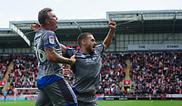 Lincoln City's Harry Anderson, left, celebrates scoring his side's second goal with team-mate Jack Payne<br /> <br /> Photographer Chris Vaughan/CameraSport<br /> <br /> The EFL Sky Bet Championship - Rotherham United v Lincoln City - Saturday 10th August 2019 - New York Stadium - Rotherham<br /> <br /> World Copyright © 2019 CameraSport. All rights reserved. 43 Linden Ave. Countesthorpe. Leicester. England. LE8 5PG - Tel: +44 (0) 116 277 4147 - admin@camerasport.com - www.camerasport.com