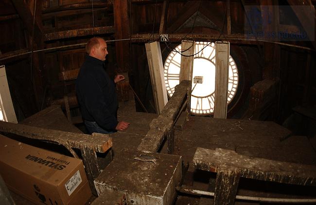 John Zack, sacristan of the Basilica inside the clock tower.