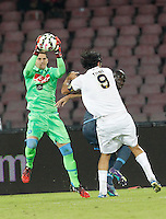 Rafael Cabral save  during the Italian Serie A soccer match between SSC Napoli and Verona  at San Paolo stadium in Naples, October 26, 2014