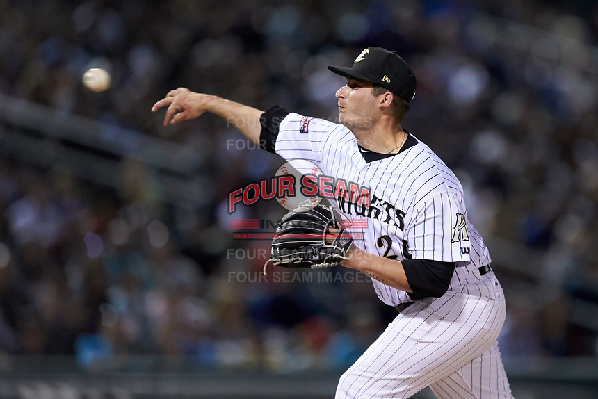 Charlotte Knights relief pitcher Tyler Danish (26) delivers a pitch to the plate against the Scranton/Wilkes-Barre RailRiders at BB&T BallPark on April 12, 2018 in Charlotte, North Carolina.  The RailRiders defeated the Knights 11-1.  (Brian Westerholt/Four Seam Images)