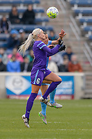 Bridgeview, IL, USA - Sunday, May 1, 2016: Orlando Pride midfielder Kaylyn Kyle (6) and Chicago Red Stars forward Jennifer Hoy (2) during a regular season National Women's Soccer League match between the Chicago Red Stars and the Orlando Pride at Toyota Park. Chicago won 1-0.