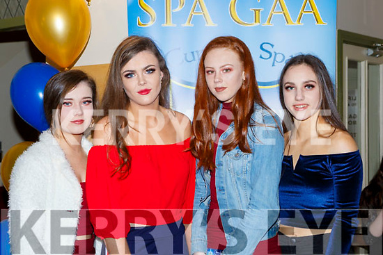 Aoife Cronin, Elizabeth Stack, Lauren O'Connor and Mairead Bennett at the Spa GAA social in the Torc Hotel on Saturday night