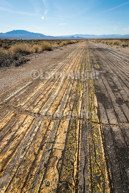 Pavement test paining on an abandoned roadway, Tonopah, Nevada
