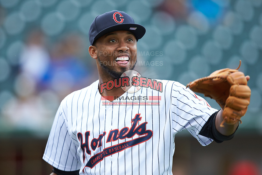 Alcides Escobar (2) of the Charlotte Hornets prior to the game against the Louisville Bats at BB&T BallPark on June 22, 2019 in Charlotte, North Carolina. The Hornets defeated the Bats 7-6. (Brian Westerholt/Four Seam Images)