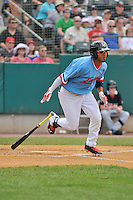 Eddie Rosario (13) of the New Britain Rock Cats bats during a game against the Reading Fightin Phils at New Britain Stadium on June 22, 2014 in New Britain, Connecticut.   New Britain defeated Reading 5-3. (Gregory Vasil/Four Seam Images)