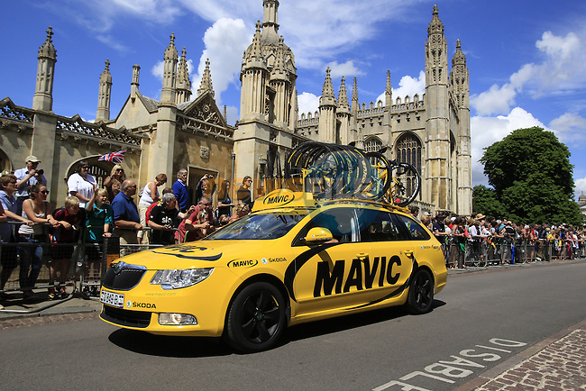 Mavic neutral service car passes by King's College as they start in Cambridge before the start of Stage 3 of the 2014 Tour de France running 155km from Cambridge to London. 7th July 2014.<br /> Picture: Eoin Clarke www.newsfile.ie