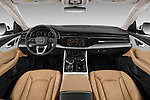 Stock photo of straight dashboard view of 2019 Audi Q8 - 5 Door SUV Dashboard