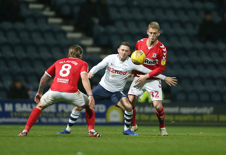Preston North End's Alan Browne battles with Middlesbrough's Adam Clayton (left) and George Saville (right) <br /> <br /> Photographer Stephen White/CameraSport<br /> <br /> The EFL Sky Bet Championship - Preston North End v Middlesbrough - Tuesday 27th November 2018 - Deepdale Stadium - Preston<br /> <br /> World Copyright © 2018 CameraSport. All rights reserved. 43 Linden Ave. Countesthorpe. Leicester. England. LE8 5PG - Tel: +44 (0) 116 277 4147 - admin@camerasport.com - www.camerasport.com