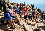 August 19, 2017 - Colorado Springs, Colorado, U.S. -  Denmark's, Martin Esbjerg, is greeted by Colorado race fans as he nears the summit of the 62nd running of the Pikes Peak Ascent.  The Ascent is a full half-marathon gaining over 7800 feet in elevation to reach the summit at 14,115 feet.  Mountain runners from around the world converge on Pikes Peak for two days of racing on America's Mountain in Colorado Springs, Colorado.