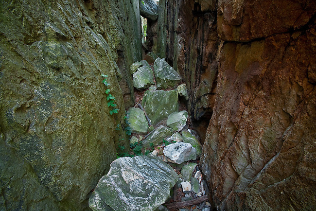A deep joint or fracture detail in Chimney Rock, Catoctin Mountain Park