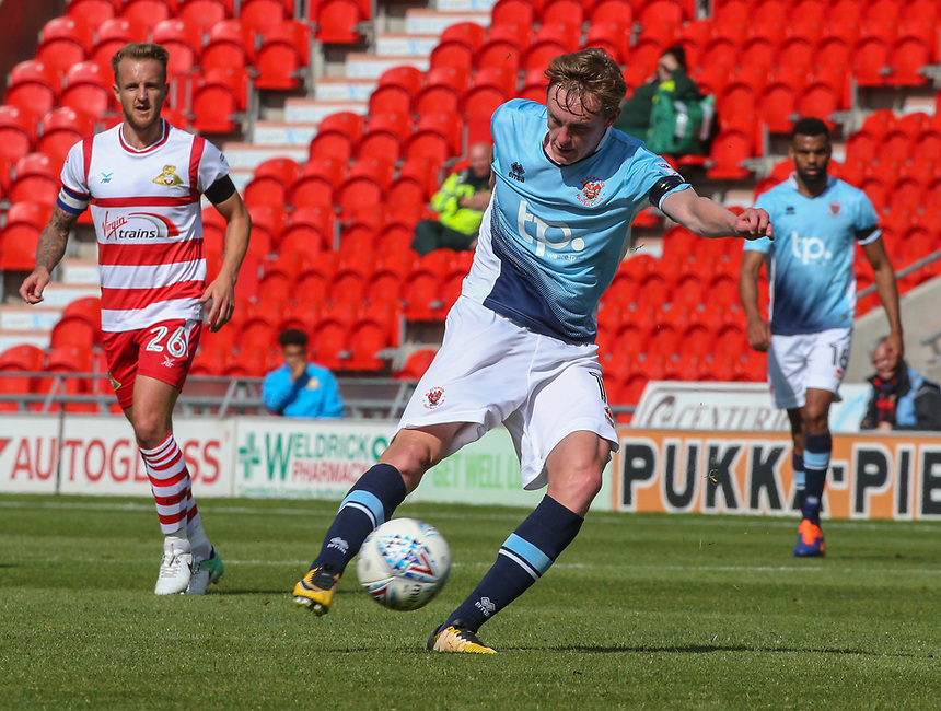 Blackpool's Sean Longstaff scores his sides equalising goal to make the score 1-1 with a long range effort<br /> <br /> Photographer Alex Dodd/CameraSport<br /> <br /> The EFL Sky Bet League One - Doncaster Rovers v Blackpool - Saturday 19th August 2017 - Keepmoat Stadium - Doncaster<br /> <br /> World Copyright &copy; 2017 CameraSport. All rights reserved. 43 Linden Ave. Countesthorpe. Leicester. England. LE8 5PG - Tel: +44 (0) 116 277 4147 - admin@camerasport.com - www.camerasport.com