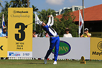 Phachara Khongwatmai (THA) in action on the 3rd tee during Round 1 of the Maybank Championship at the Saujana Golf and Country Club in Kuala Lumpur on Thursday 1st February 2018.<br /> Picture:  Thos Caffrey / www.golffile.ie<br /> <br /> All photo usage must carry mandatory copyright credit (© Golffile | Thos Caffrey)