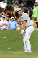 Jon Rahm (ESP) chips onto the 18th green during Saturday's Round 3 of the 2017 PGA Championship held at Quail Hollow Golf Club, Charlotte, North Carolina, USA. 12th August 2017.<br /> Picture: Eoin Clarke | Golffile<br /> <br /> <br /> All photos usage must carry mandatory copyright credit (&copy; Golffile | Eoin Clarke)