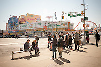 The corner of Surf and Stillwell Avenues in Coney Island in New York on Saturday, March 26, 2016 showing Nathan's Famous restaurant. The iconic eatery was founded in 1916 has been in business 100 years. (© Richard B. Levine)