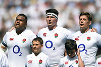 Kyle Sinckler, Tom Curry and Piers Francis of England sing the national anthem. Quilter Cup International match between England and the Barbarians on May 27, 2018 at Twickenham Stadium in London, England. Photo by: Patrick Khachfe / Onside Images