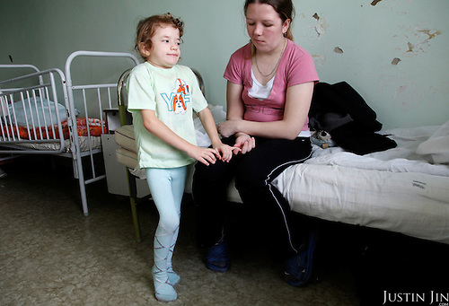 A girl with HIV and Candidiasis at the children's HIV department in Chelyabinsk.