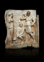 Roman Sebasteion relief  sculpture of Meleager and Atalante  Aphrodisias Museum, Aphrodisias, Turkey.  Against a black background.<br /> <br /> Meleager sits on a rock tying his sandal. Below him lies a fierce hunting dog with a broad collar. On one side a god or another hero wearing a rounded hat was crowning Meleager ( arm missing). On the other side stands the huntress Atalante, Meleager's lover: she wears a short dress and quiver, and lifts her cloak at the shoulder in a gesture of modesty.