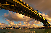 Auckland Harbour Bridge with the skyline of Auckland in background,  Auckland, New Zealand