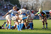 Michael Claassens of Bath Rugby sends up a box kick during the Aviva Premiership match between Harlequins and Bath Rugby at The Twickenham Stoop on Saturday 24th March 2012 (Photo by Rob Munro)