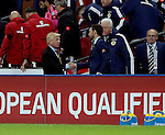 Gordon Strachan manager of Scotland and Gareth Southgate coach of England shake hands at the end of the match during the FIFA World Cup Qualifying Group F match at Wembley Stadium, London. Picture date: November 11th, 2016. Pic David Klein/Sportimage