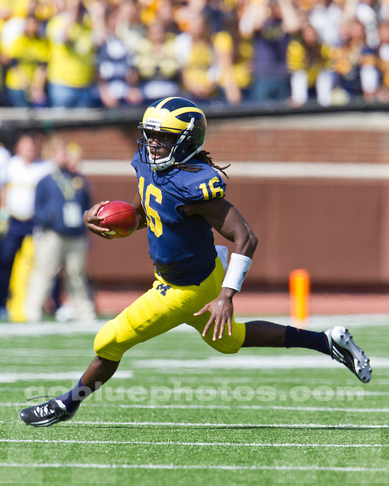 The University of Michigan football team defeated Eastern Michigan University at Michigan Stadium in Ann Arbor, Mich., on September 17, 2011.