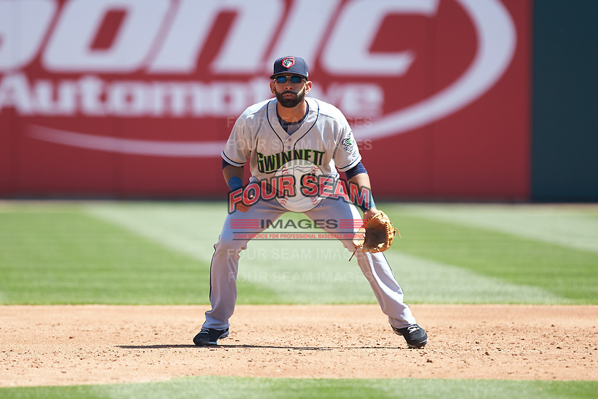 Gwinnett Stripers third baseman Jose Bautista (19) on defense against the Charlotte Knights at BB&T BallPark on May 2, 2018 in Charlotte, North Carolina.  The Knights defeated the Stripers 6-5.  (Brian Westerholt/Four Seam Images)