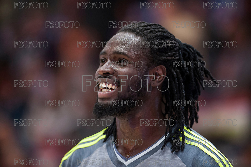 VALENCIA, SPAIN - FEBRUARY 28: Maurice Ndour during ENDESA LEAGUE match between Valencia Basket Club and Real Madrid at Fonteta Stadium on   February, 2016 in Valencia, Spain