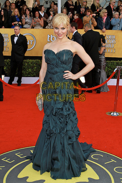 CARA BUONO.17th Annual Screen Actors Guild Awards held at The Shrine Auditorium, Los Angeles, California, USA..January 30th, 2011.SAG arrivals full length strapless blue dress gathered hand on hip.CAP/ADM/KB.©Kevan Brooks/AdMedia/Capital Pictures.